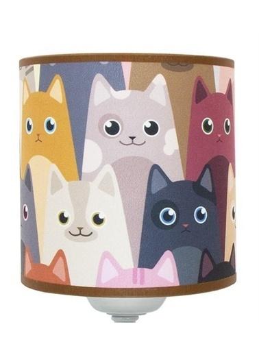 Şenay Aydınlatma Modern Metal Ayak Silindir Kumaş Abajur-Sevimli Kediler Renkli
